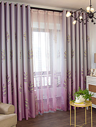 cheap -Two Panel Korean Pastoral Style Maple Leaf Blackout Curtain Living Room Bedroom Curtain