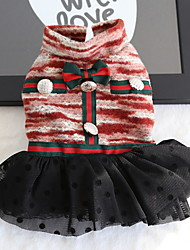 cheap -Dogs Cats Pets Dress Winter Dog Clothes Black Red Costume Polyster Polka Dot Voiles & Sheers British XS S M L XL