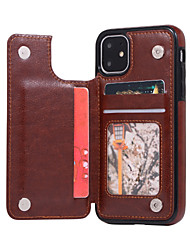 cheap -Case For Apple iPhone 11 Card Holder / Shockproof Back Cover Solid Colored PU Leather / TPU