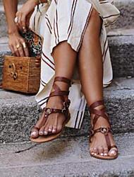 cheap -Women's Sandals Flat Heel Round Toe PU Spring & Summer Brown