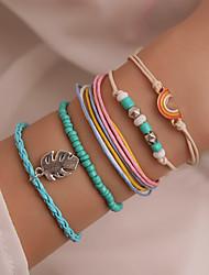 cheap -5pcs Women's Bead Bracelet Wrap Bracelet Earrings / Bracelet Layered Rainbow Simple Classic Trendy Fashion Colorful Cord Bracelet Jewelry Rainbow For Daily School Street Festival / Pendant Bracelet