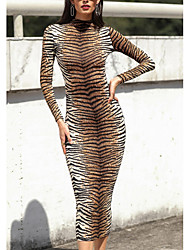 cheap -Women's Daily Wear Street chic Bodycon Dress - Animal Brown S M L XL