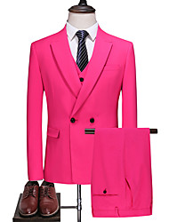 cheap -Fuchsia Solid Colored Slim Fit Polyester Suit - Peak Double Breasted Two-buttons