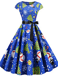 cheap -Audrey Hepburn Dress Adults' Women's Retro Vintage Christmas Christmas Festival / Holiday Polyester Blue Women's Carnival Costumes