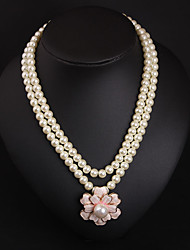 cheap -Women's Pearl Pearl Necklace Layered Floral / Botanicals Statement Cute Imitation Pearl White 54+7 cm Necklace Jewelry 1pc For Wedding Engagement