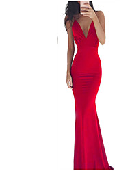 cheap -Women's Sheath Dress - Solid Colored Backless Black Wine Red S M L XL