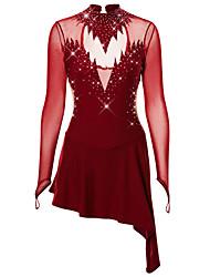 abordables -Robe de Patinage Artistique Femme Fille Patinage Jupes Robes Noir Rose clair Bleu Ciel Spandex Fil élastique Elastique Haute élasticité Professionnel Compétition Tenue de Patinage Strass Manches