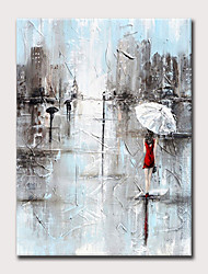 Недорогие -Hang-роспись маслом Ручная роспись - Пейзаж Люди Modern Без внутренней части рамки