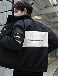 cheap -Men's Daily / Beach Fall / Winter Regular Jacket, Color Block Stand Long Sleeve Polyester Black / Yellow / Rainbow