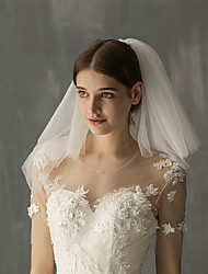 cheap -Two-tier Sweet Wedding Veil Shoulder Veils with Solid Tulle / Angel cut / Waterfall