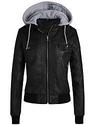 cheap -Women's Faux Leather Jacket Regular Solid Colored Daily Basic Black Khaki Brown S M L XL