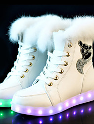 cheap -Women's Sneakers Flat Heel Round Toe PU Booties / Ankle Boots LED / Casual Winter Black / White / Pink
