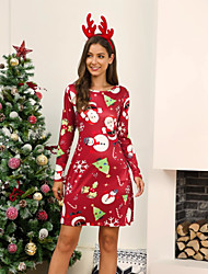 cheap -Women's Red Black Dress Christmas Party Sheath Geometric S M
