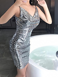 cheap -The Great Gatsby Retro Vintage 1920s Flapper Dress Masquerade Women's Sequins Sequin Costume Black / Silver / Pink Vintage Cosplay Party Halloween Sleeveless