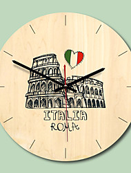 cheap -M.Sparkling Wall Clock Wooden Building 11inch Modern Design Creative Lving Room Kitchen Wall Watch Mutes Fashion