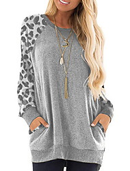 cheap -Women's Leopard Pullover Long Sleeve Sweater Cardigans Round Neck Blue Purple Blushing Pink