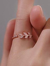 cheap -Women's Ring Open Ring 1pc Rose Gold Silver Rhinestone Alloy European Casual / Sporty Ethnic Daily Street Jewelry Leaf Lovely