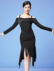 cheap -Latin Dance Outfits Women's Training / Performance Milk Fiber Glitter / Tassel Long Sleeve Natural Skirts / Top