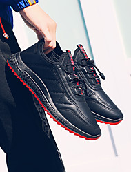 cheap -Men's Comfort Shoes Leather Fall / Spring & Summer Sporty Athletic Shoes Running Shoes / Walking Shoes Waterproof Black and White / Black / Red