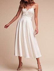 cheap -A-Line Wedding Dresses V Neck Tea Length Satin Spaghetti Strap Formal Illusion Detail with Lace Insert 2021