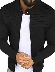 cheap -Men's Stand Collar Jacket Regular Solid Colored Daily Long Sleeve Black Wine Army Green Light gray US32 / UK32 / EU40 US34 / UK34 / EU42 US36 / UK36 / EU44 US38 / UK38 / EU46