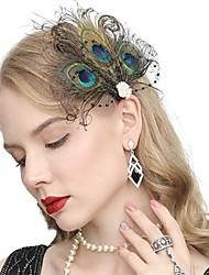 cheap -The Great Gatsby Vintage 1920s The Great Gatsby Flapper Headband Women's Feather Costume Head Jewelry Earrings Fascinators Black / Green Vintage Cosplay Festival / 1 Pair of Earrings / Headwear