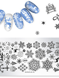 cheap -1 pcs Christmas Snowflake Deer Stamping Plate Round Stamp Template Manicure Nail Art Image Plate