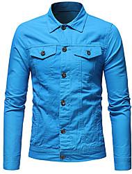 cheap -Men's Daily Basic Fall Regular Denim Jacket, Solid Colored Shirt Collar Long Sleeve Cotton / Polyester Black / White / Orange