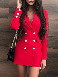 cheap -Women's Mini Sheath Dress - Long Sleeve Solid Colored Shirt Collar Red S M L XL