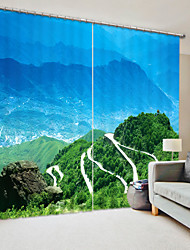 cheap -Blue Ssky Green Mountain Digital Printing 3D Curtain Shading Curtain High Precision Black Silk Cloth High Quality Curtain