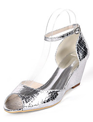 cheap -Women's Heels Wedge Heel Peep Toe PU Minimalism Fall / Spring & Summer Champagne / Light Purple / Silver / Party & Evening