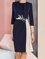 cheap -Women's Shift Dress - Color Block Navy Blue M L XL XXL