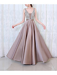 cheap -Women's Maxi Purple Blushing Pink Dress Spring Cocktail Party Prom A Line Solid Colored V Neck Beaded S M / Sexy