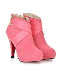 cheap -Women's Boots Stiletto Heel Round Toe PU Booties / Ankle Boots Fall & Winter Black / Red / Pink