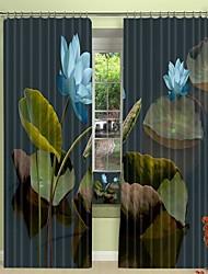 cheap -Blue Three-dimensional Lotus Digital Printing 3D Window Shading Curtain High Precision Black Silk Fabric High Quality Curtain