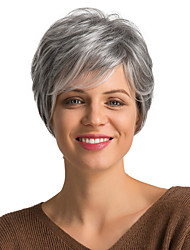cheap -Human Hair Wig Short Curly Pixie Cut Short Hairstyles 2019 With Bangs Curly Short Side Part Women's Grey Dark Wine Medium Auburn / Bleach Blonde 8 inch