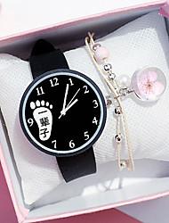 cheap -Women's Quartz Watches New Arrival Fashion Black White Silicone Chinese Quartz Black White Chronograph Cute New Design 2pcs Analog One Year Battery Life