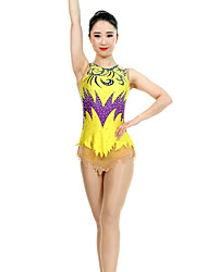 cheap -Rhythmic Gymnastics Leotards Artistic Gymnastics Leotards Women's Girls' Leotard Yellow Spandex High Elasticity Handmade Print Jeweled Sleeveless Competition Ballet Dance Ice Skating Rhythmic