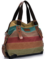 cheap -Women's Zipper Canvas Top Handle Bag Color Block Khaki