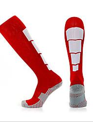 Недорогие -Компрессионные носки Спортивные носки Носки для бега Муж. Носки Длинные носки Воздухопроницаемость Впитывает пот и влагу Non Slip Бег Баскетбол Футбол Виды спорта Зима Хлопок Синий Красный