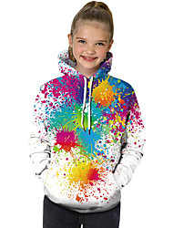 cheap -Kids Toddler Girls' Active Basic Rubik's Cube Geometric Print 3D Print Long Sleeve Hoodie & Sweatshirt Rainbow