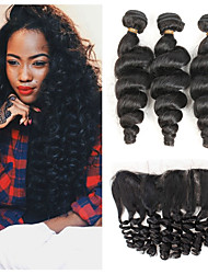 cheap -3 Bundles with Closure Brazilian Hair Loose Wave Human Hair Human Hair Extensions Hair Weft with Closure 8-26 inch Black Human Hair Weaves Women New Arrival Hot Sale Human Hair Extensions