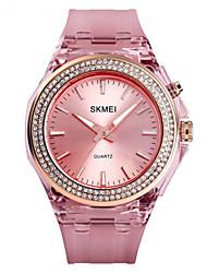 cheap -SKMEI Women's Quartz Watches Quartz Stylish Fashion Water Resistant / Waterproof Analog White Blue Purple / PU Leather / Japanese / LCD / Japanese