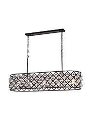 cheap -5-Light Crystal Chandelier Kitchen Island Rectangular Chandelier Ceiling Light Linear Pendant Light Fixture for Livingroom Kitchen Island