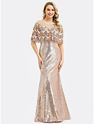 cheap -Mermaid / Trumpet Jewel Neck Floor Length Sequined Formal Evening Dress with Sequin by LAN TING Express