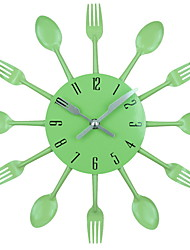 abordables -horloge murale cuisine couverts horloge en acier inoxydable 3d amovible couteau cuillère fourchette bricolage montre montage mural design moderne décoration de la maison