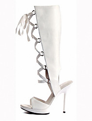 cheap -Women's Boots Cone Heel Round Toe Bowknot / Ribbon Tie PU Mid-Calf Boots Sweet / Minimalism Summer / Spring & Summer Black / White