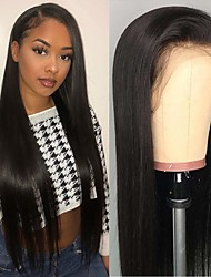cheap -Human Hair Unprocessed Virgin Hair 4x13 Closure Wig Free Part style Brazilian Hair Natural Straight Natural Wig 150% Density Party Classic Sexy Lady Hot Sale Thick Women's Long Cosplay Suits Tea