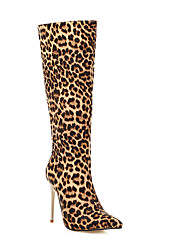 cheap -Women's Boots Knee High Boots Animal Print Stiletto Heel Pointed Toe Knee High Boots Classic Party & Evening PU Leopard Snake Black / White Leopard Black