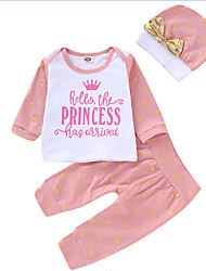 cheap -Baby Girls' Active / Basic Print Print Long Sleeve Regular Regular Clothing Set Blushing Pink